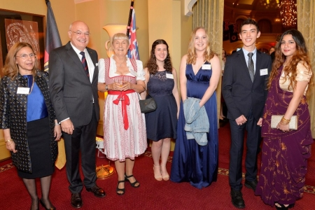 L-R: Tosten Ketelsen, Honorary Consul of teh Federal Republic of Germany WA; Pamela Millar, president SAGSE; SAGSE Scholorship winners Ms Tiana Nelson, Mr Ju-Yin Ham, Ms Mia Palmer, Ms Prajna Menon